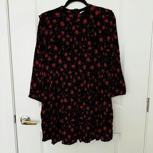 ZARA   Ruffled Red Blossom Dress